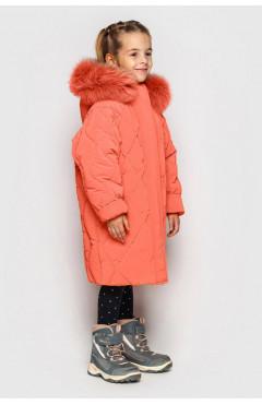 Зимнее пальто на девочку, ДЖУН ДОШК. ярко-коралловый, экопух, р.104,110,116, Cvetkov Украина