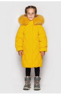 Зимнее пальто на девочку, ДЖУН ДОШК. т-желтый, экопух, р.104,110,116,122, Cvetkov Украина