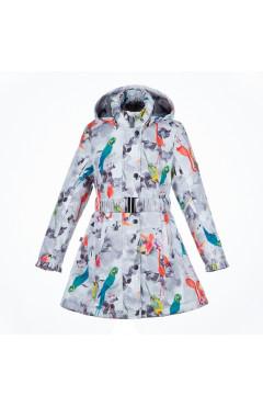 Детское пальто для девочки LEANDRA, демисезон, белый с принтом р. 116,122,128,140,146,152 Huppa Эстония