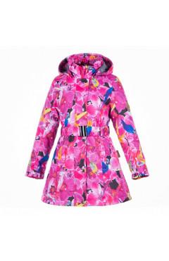 Детское пальто для девочки LEANDRA, демисезон, фуксия с принтом р.122,128,140,146,152 Huppa Эстония
