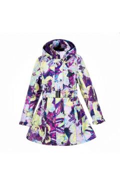 Детское пальто для девочки LEANDRA, демисезон, лиловый с принтом р. 116,122,128,140,146,152 Huppa Эстония