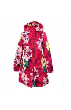 Детское пальто для девочки LUISA, демисезон, фуксия с принтом р. 128,134,140,152 Huppa Эстония