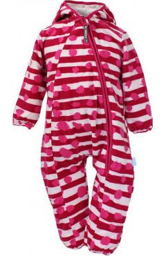 Детский комбинезон для девочки DANDY, утепленный, с капюшоном, флис, фуксия с принтом, р.74,80,86 Huppa Эстония