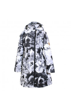 Детское пальто для девочки LUISA, демисезон, черный с принтом р. 128,134,140,146 Huppa Эстония