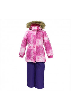 Зимний комплект для девочки, RENELY, фуксия с принтом/лилoвый, р.92,104, Huppa Эстония