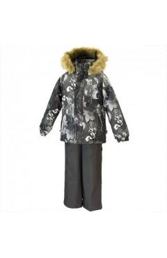 Зимний комплект для мальчика WINTER тёмно-серый с принтом/тёмно-серый, р.116,122, Huppa Эстония