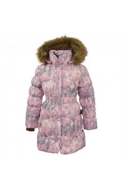 Зимнее пальто на девочку  GRACE 1, с-розовый с принтом, мембрана/пух, р.110,116,122,128,140, Huppa Эстония