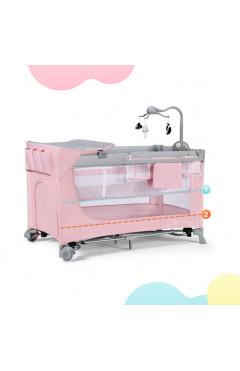 Кровать-манеж с пеленатором Kinderkraft Leody Pink (KCLEOD00PNK00AC), розовый
