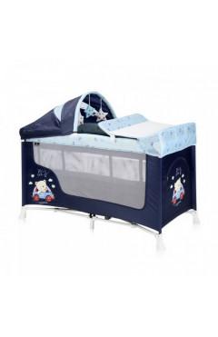 Манеж-кровать  Lorelli SAN REMO 2L+ (blue bear) с пеленатором, капюшоном, синий