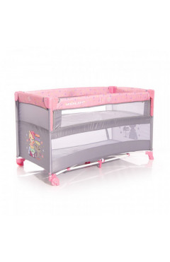 Манеж-кровать Lorelli UP AND DOWN (pink trevelling) серый/розовый