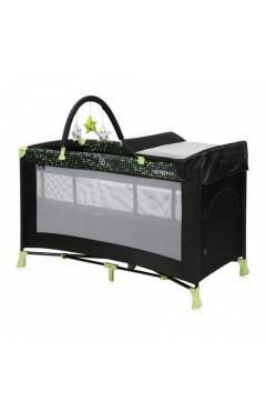 Манеж-кровать Lorelli VERONA 2L+ (black/green dots) пеленальный столик, дуга с игрушками, черный/салатовый