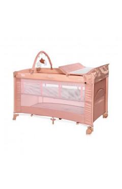 Манеж-кровать Lorelli TORINO 2L+ (misty rose) пеленальный столик, дуга с игрушками, сумка переноска
