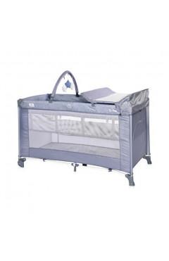 Манеж-кровать Lorelli TORINO 2L+ (silver blue) пеленальный столик, дуга с игрушками, сумка переноска