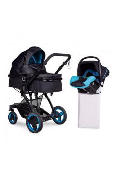 Коляска Ninos BONO BLUE BLACK 3в1 + автокресло