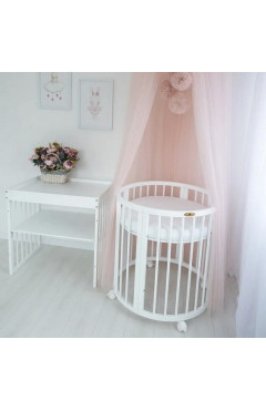 Овальная кроватка Royal Sleep 9в1 Белая
