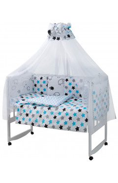 Детская постель Babyroom Classic Bortiki-01 (8 элементов)  белый (барашки, звездочки)