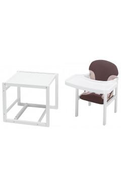 Стульчик- трансформер Babyroom Пони-240 белый пластиковая столешница  шоколад-бежевый