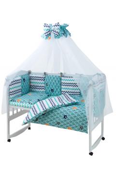 Детская постель Babyroom Classic Bortiki-01 (8 элементов)  бирюзовый (лес)