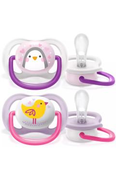 Avent Пустышка ортодонтическая Ultra Air Animal для девочек 0-6 мес 2шт
