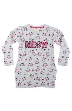 Платье для девочки, м-серый с принтом, хлопок, р. 92,98,104,110,116, Breeze Турция