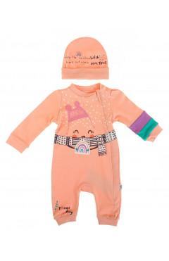 Человечек для новорожденного, с шапкой, для девочки, персиковый, хлопок, р. 56,62,68 Tongs Турция