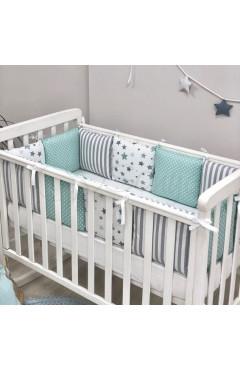 Бортики Baby Design Stars мятный + простыня