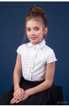 Блузка школьная, с рюшами, отложной воротник, белый, хлопок, р. 152, Зіронька Украина