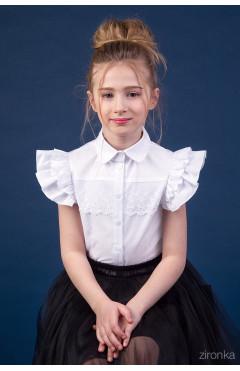 Блузка школьная, рукава двойной волан, кружево, белый, хлопок, р. 146, Зіронька Украина