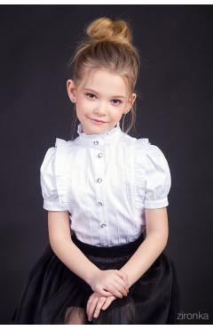 Блузка школьная, рюши, белый, хлопок, р. 116,134,146,152, р. Зіронька Украина