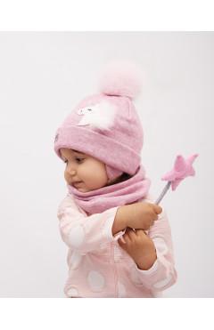 Зимняя шапка с натур .помпоном и снуд для девочки
