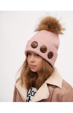 Зимняя шапка для девочки с натур. помпоном