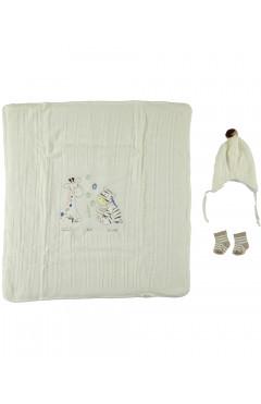 Конверт-одеяло вязаный,с шапочкой и носочками