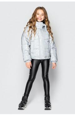 Детская куртка для девочки, демисезонная, светоотражающий, серый, р.134,128 Cvetkov Украина