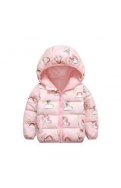 """Детская куртка для девочки """"Пони"""", розовый с принтом, р.92,104,110, Китай"""