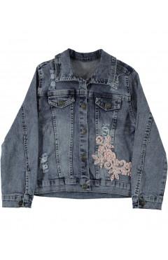 Джинсовая куртка для девочки, синий, р.122, Vanessa Турция