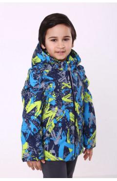 Детская куртка-жилет на мальчика, синий/зеленый, р.100,116,122,128 Модный карапуз Украина