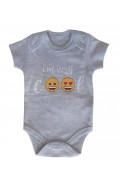 Боди для новорожденного с коротким рукавом,80р.,хлопок, серый, с принтом