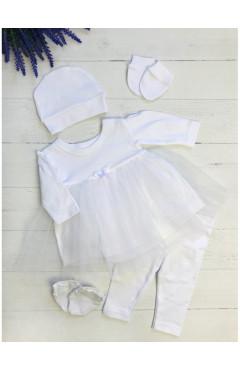 Крестильный набор для девочки, белый, с фатином, р.56,62