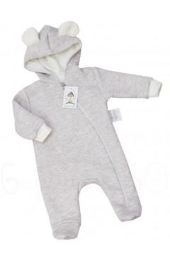 Человечек для малыша утепленнный, бежевый, хлопок, р. 62, 68, 74