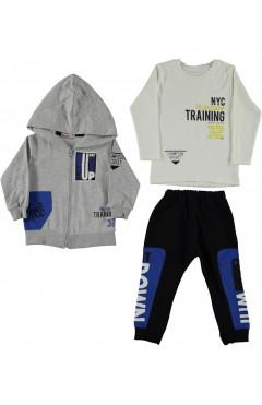 Детский спортивный костюм, 3 предмета, серый-синий,р.92,98,104,110,Carmina Турция