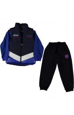 Комплект одежды для мальчика, с жилетом, темно-синий, р.92,98,104,110, Babyland Турция