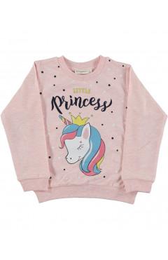 """Свитшот детский, для девочки """"little Princess"""", розовый,с единорогом, хлопок, р. 98,104,110,116,128 Slm Турция"""