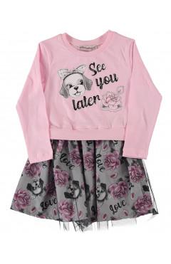 """Платье для девочки """"Love"""", с фатином, розовый, хлопок, р. 92,98,104,110 Pink Турция"""