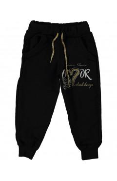 Детские спортивные штаны для девочки, черный,с стразами, хлопок, р. 92,104,116,128 Narmini Турция