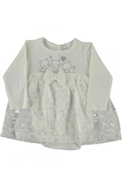 Нарядное платье-боди,для новорожденного, белое, р. 56,62,68,74,80 Puan baby Турция