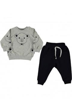 """Детский спортивный костюм для мальчика """"Мишки"""", черный/серый, хлопок, р. 68,74,80,86 Baby One Турция"""