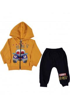 """Детский спортивный костюм для мальчика """"Машинка"""", горчичный/черный, хлопок, р. 68,74,80 Baby One Турция"""