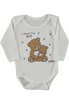 """Боди для новорожденных """"Я люблю маму"""", с длинными рукавами, белый, интерлок,  р. 62,68,74,80,86 Findik Турция"""
