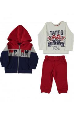 Детский спортивный костюм для мальчика 3 ед., красный, хлопок, р. 68,74,80,86 Concept Турция