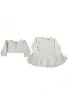 Нарядное платье на девочку, с болеро,белый, хлопок, р. 74,80,86 Bulsen Турция